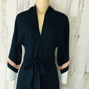 Joie Aydrien Navy Colorblock Cady Midi Dress Belt
